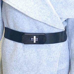 Espirit Stretch Belt Shiny Laminate Buckle Leather